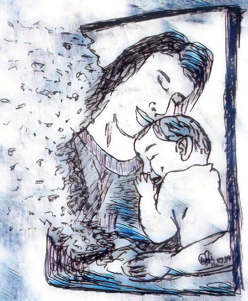 My Sketch of An Infinity Fading Mother With Her Baby